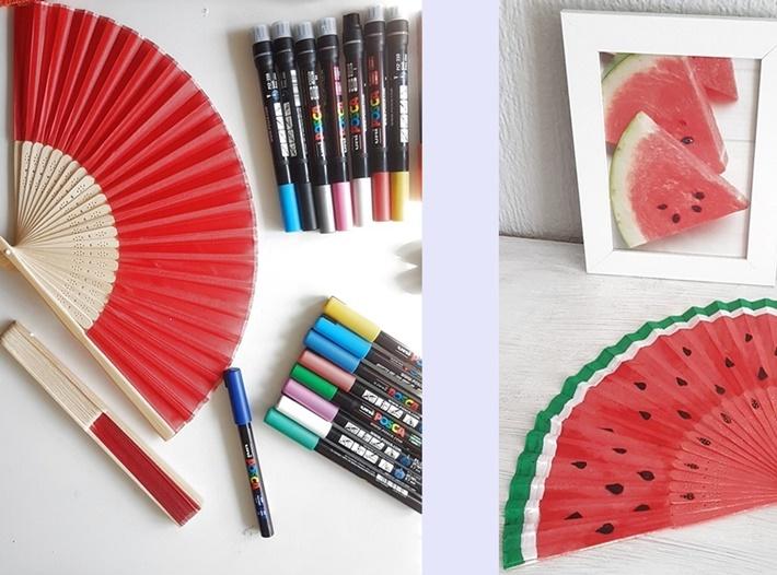 roter-Fächer-mit-Stiften-bemalt-Wassermelone