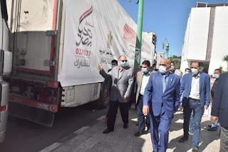 محافظ أسيوط يستقبل 22 سيارة مواد غذائية من صندوق تحيا مصر
