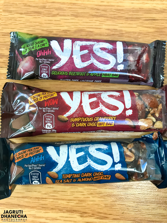 YES fruit and nut bars are prepared with natural and healthy ingredients.