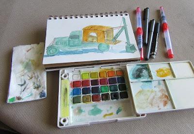 watercolor sketch kit water brush pen Sakura