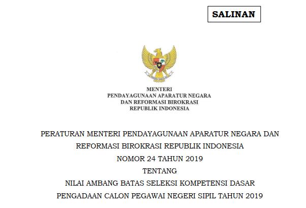 nilai ambang batas skd cpns 2019; permenpan rb nomor 24 tahun 2019; www.tomatalikuang.com