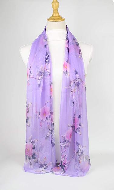 Cheap Purple Chiffon Scarf