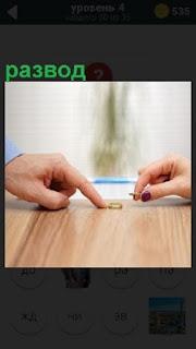 Мужчина и женщина на столе оставляют свои кольца после развода