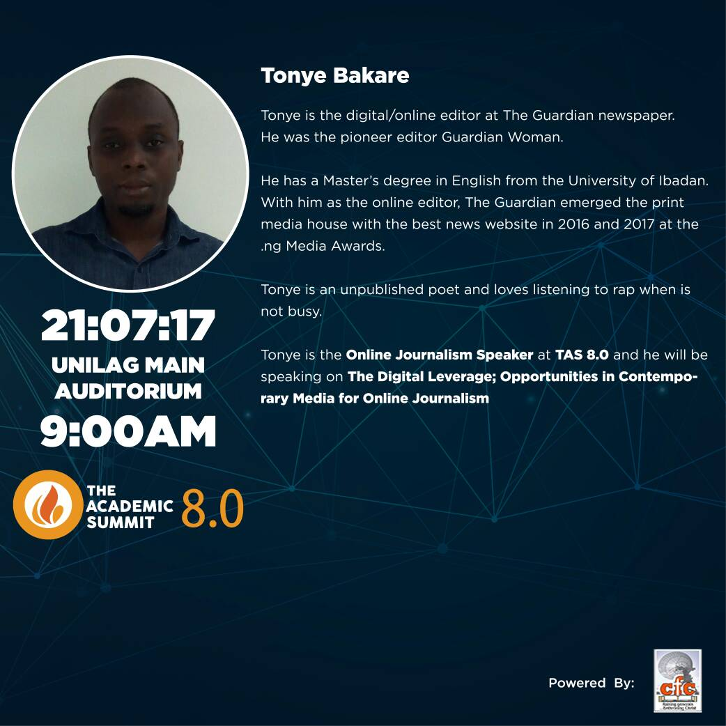 Tonye Bakare Will Be Coming To The Academic Summit 8.0