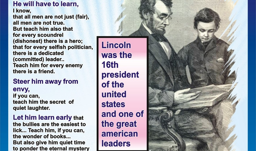 My Coolest Quotes Lincoln s Letter to his Son s Teacher