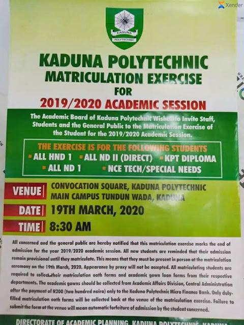 KADPOLY Matriculation Ceremony Date 2019/2020 | NCE, ND & HND