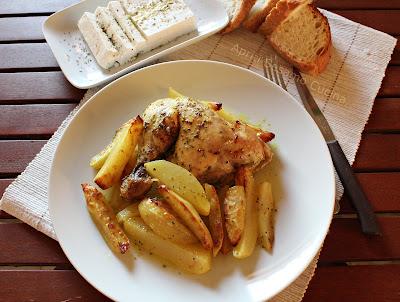 Pollo al forno con patate e limone