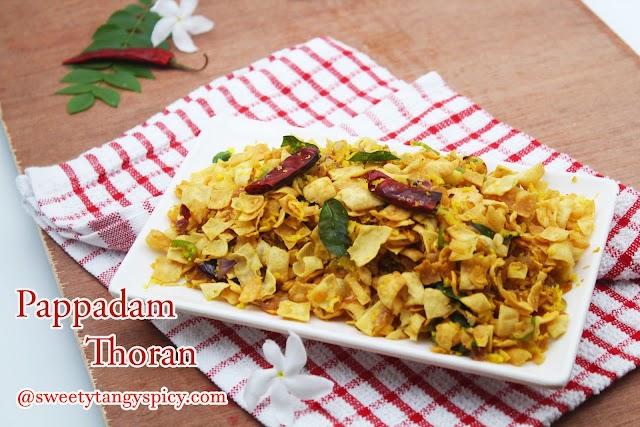 Kerala Style Pappadam Thoran Recipe