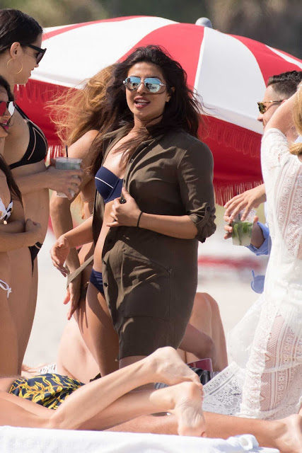 Adriana Lima and Priyanka Chopra in Bikini on the Beach in Miami