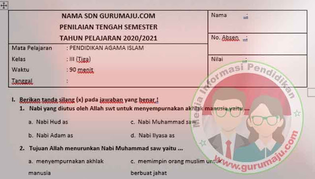 Contoh Soal UTS PAI Kelas 3 SD Semester 1 K13 Revisi