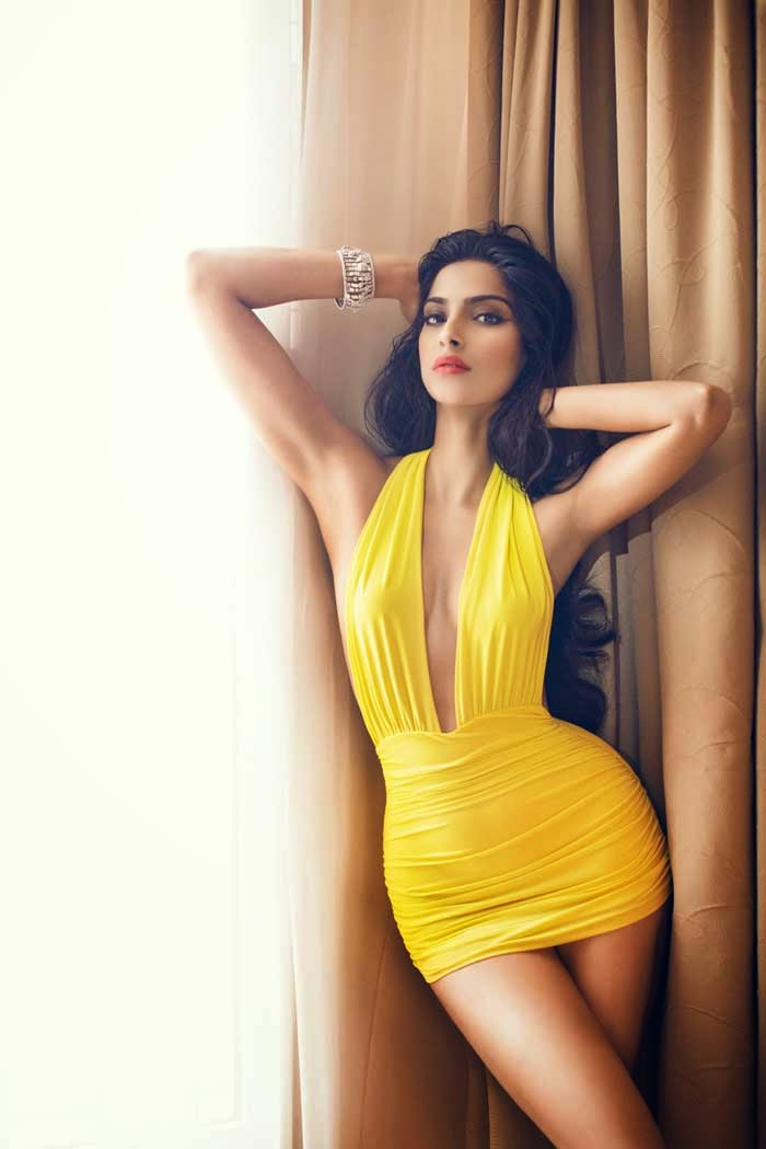 Sonam-Kapoor-Yellow-Mini-dress-GQ-Magazine-Hottest-Photo