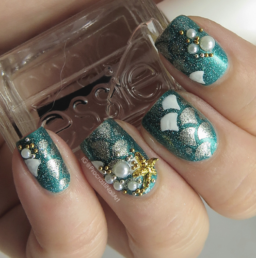 Easy Embellished Mermaid Nail Art