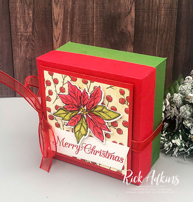 Today on my weekly YouTube Live I shared how to create a fun and festive gift box using the Poinsettia Petals Stamp Set and products from the Poinsettia Place Suite of products from the August-December Stampin' Up! Mini Catalog.  Click here to learn more!