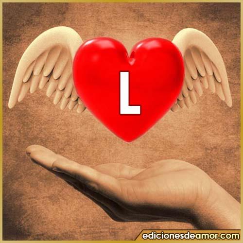 corazón con alas con letra L