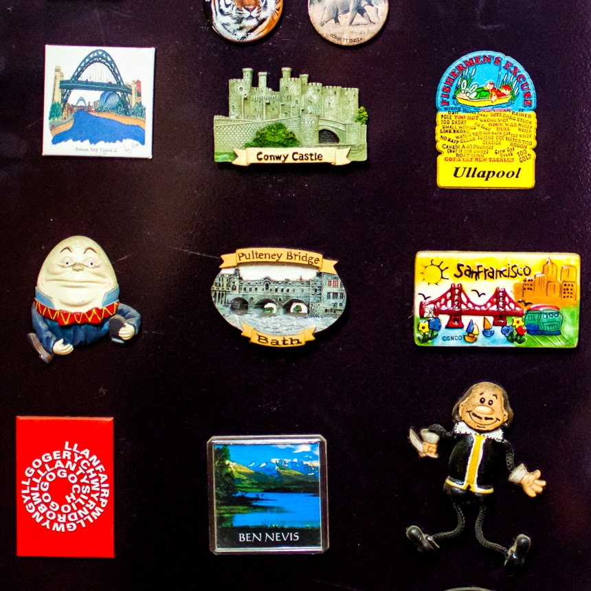Most of my magnets are from the UK, a country I have explored quite a lot. I usually buy one magnet from one city/town/attraction, but on rare occasions, I have been guilty of buying more than one if I couldn't decide between two or three. I prefer ceramic magnets to ones with photographs because I feel that a lot of imagination and thought goes behind creating a ceramic magnet.
