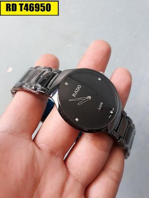 Đồng hồ đeo tay nam mặt tròn dây đá ceramic RD T46950