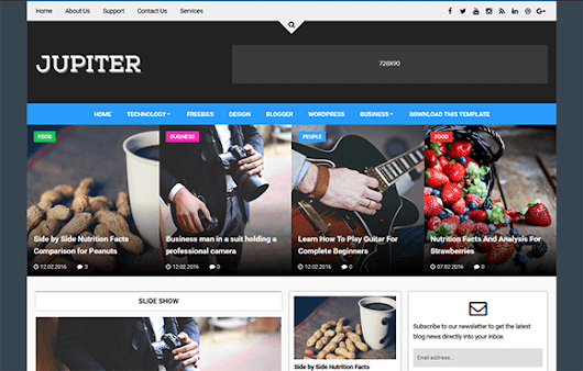 Jupiter free news or magazine blogger template