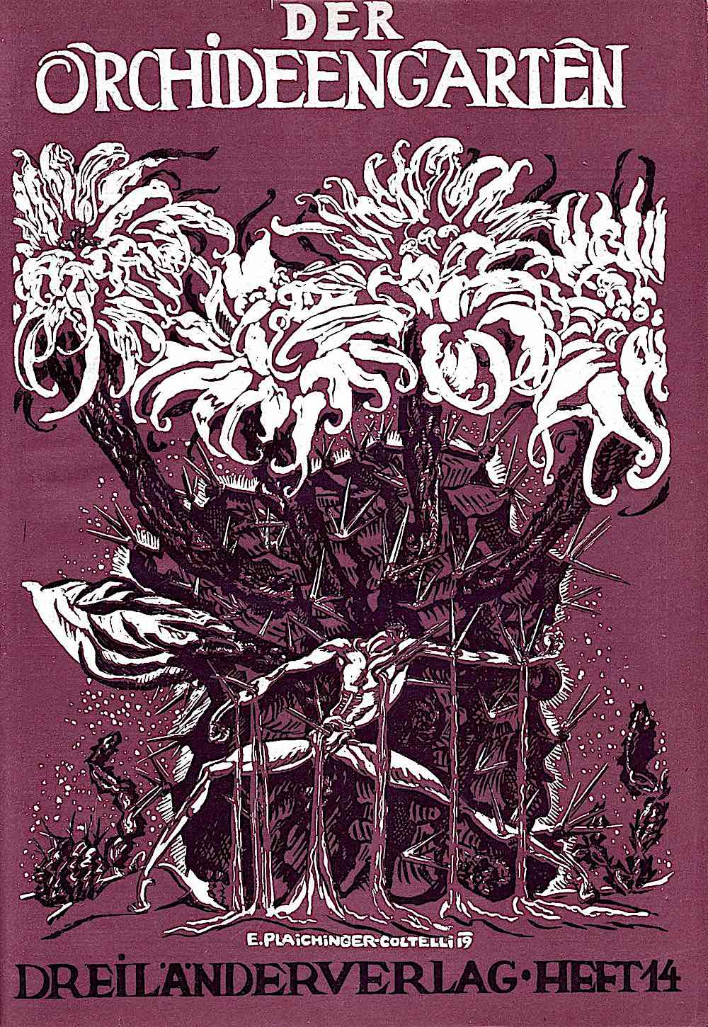 Der Orchid Een Garten,  a 1919 publication cover showing a man impaled on giant garden thorns in purple