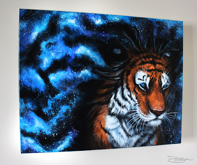 Angle view of Mind Wide Open Galaxy Tiger Painting