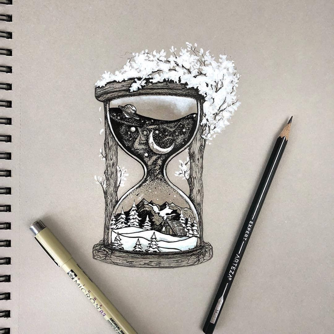 01-Hourglass-Rosa-F-Detailing-and-Symbolism-in-Ink-Drawings-www-designstack-co