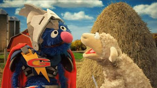 Super Grover 2.0 Farm. A sheep has lost her knitting needle in a haystack and needs help. Sesame Street Episode 4325 Porridge Art season 43