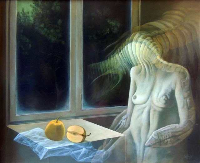 Gregorio Sabillón pintura cuadro surrealimo desnudo dama