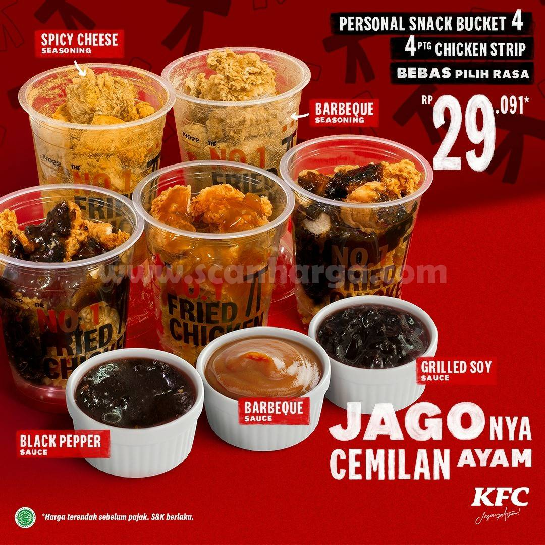 KFC Promo Personal Snack Bucket! 4 potong Chicken Strip mulai Rp 29.091