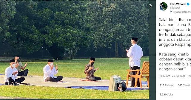 Jokowi Sebut Paspampres Jadi Muazin Salat Idul Adha, Netizen: Sejak Kapan Sholat Ied Ada Muazin?