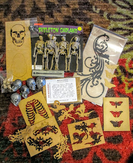 art, artistic, create, creativity, skeletons, skulls, stencils, moths, rib cage, crow skull