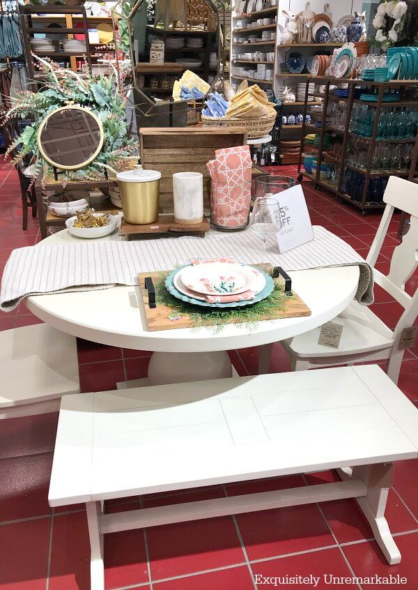 Pier One Dining Set with round table and bench seating