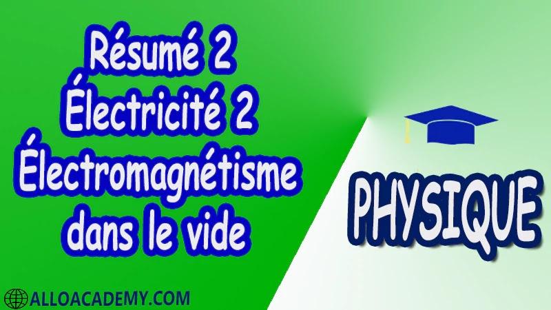 Résumé 2 Électricité 2 ( Électromagnétisme dans le vide ) pdf