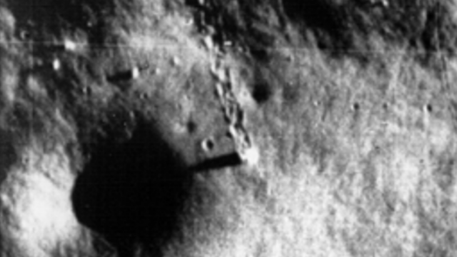Craft on the Moon leaves tracks in the Lunar dust.