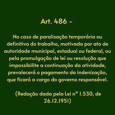 Art. 486 Consolidação das Leis do Trabalho - Decreto Lei 5452/43