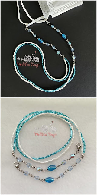 Post Fire Polished Glass Beads with Seed Beads Face Mask Chain