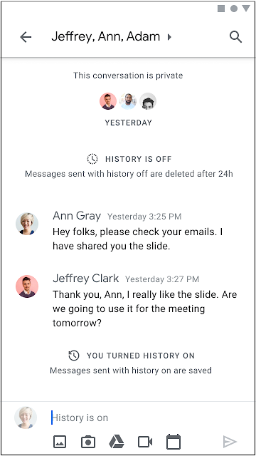 Changes to History on/off setting in Google Chat 1