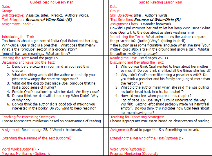 Crafting Connections Writing Guided Reading Lesson Plans A FREEBIE – Sample Guided Reading Lesson Plan Template