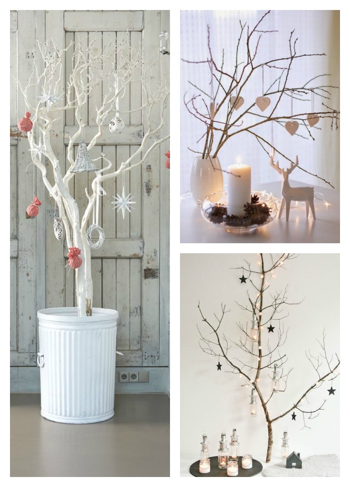11 árboles de navidad con ramas secas