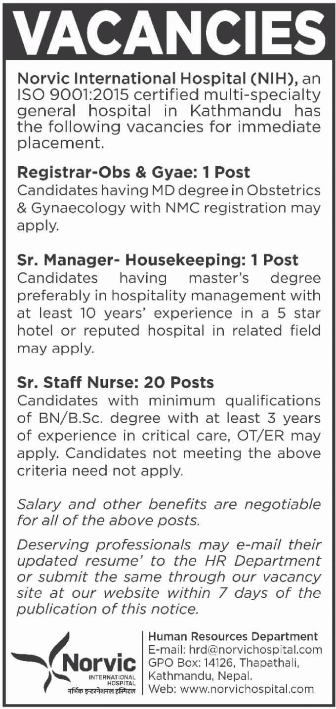 Vacancies at Norvic International Hospital