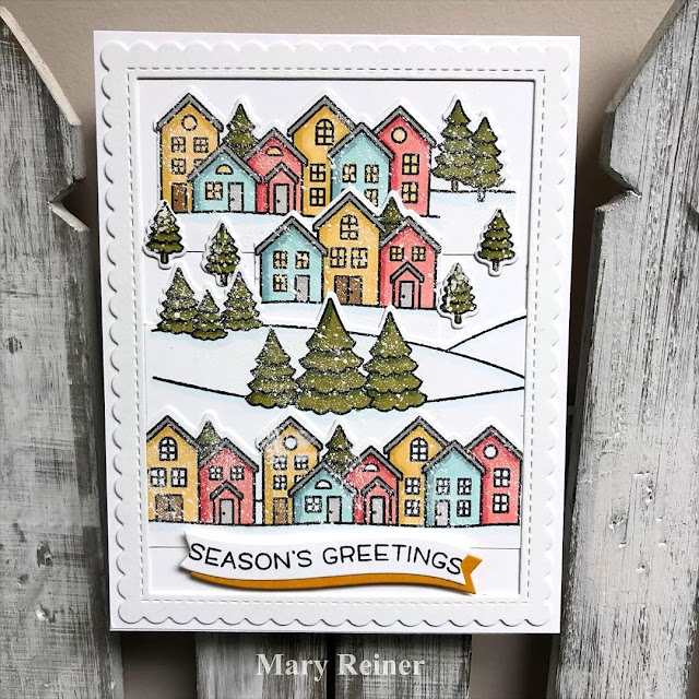 Sunny Studio Stamps: Scenic Route Customer Christmas Themed Card by Mary Reiner