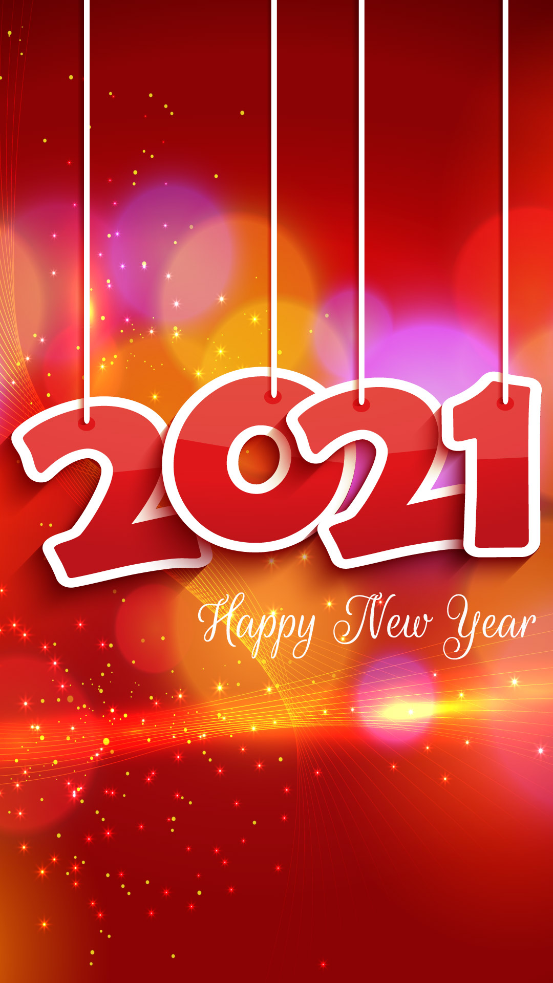Happy New Year 2021 Red Background