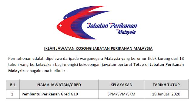 jawatan kosong jabatan perikanan malaysia 2020