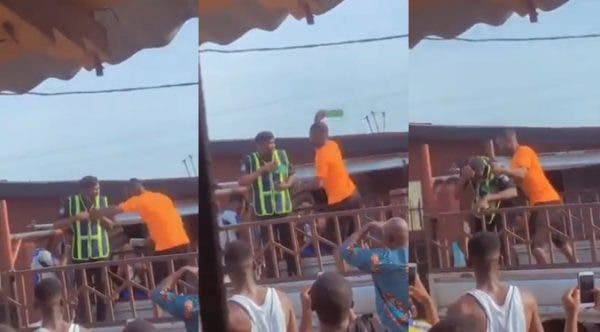Watch the Moment a Man breaks bottle on police officer's head in Lagos (Video)