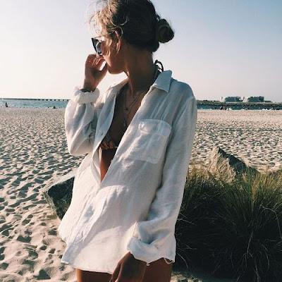 como usar camisa social na praia