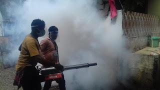 पुलिस लाईन मोहम्मदपुरा में डेंगू नियंत्रण के लिये फॉगिंग की गई