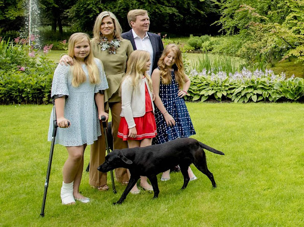 King Willem-Alexander, Queen Maxima, Princess Amalia, Princess Alexia and Princess Ariane at the 2016 Summer photo shoot in Villa Eikenhorst residence.