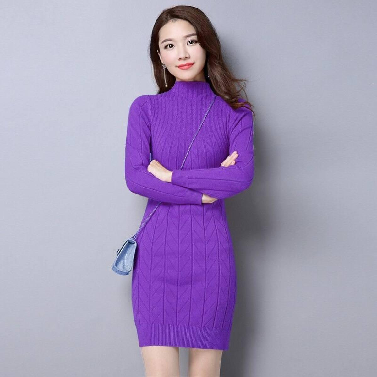 2021 Thu Đông Mẫu Mới Big Size Kiểu Lửng Dệt Kim Áo Mặc Trong Dễ Phối Dày Hơn Áo Len Nữ Ôm Body Tôn Dáng Đầm