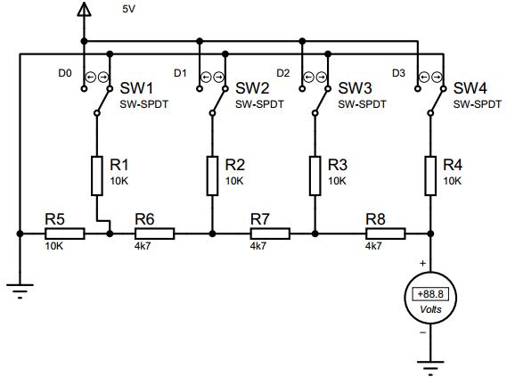 Rangkaian DAC jenis tangga R-2R tanpa Op-amp