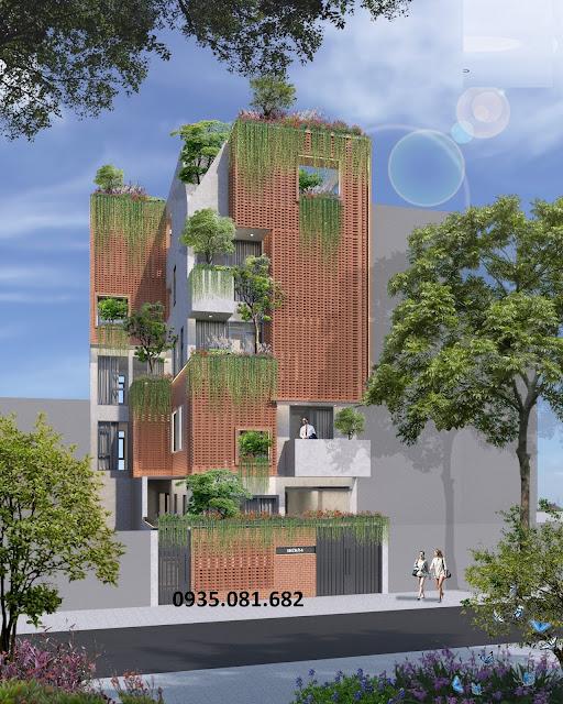 mẫu nhà phố đẹp độc đáo 5 tầng