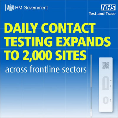 daily contact testin expanded to 2,000 centres in England text and image of lateral flow test down right hand side