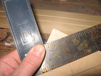 Draw a 45 degree line from your 1.5 inch mark at the top to the sides of the plywood